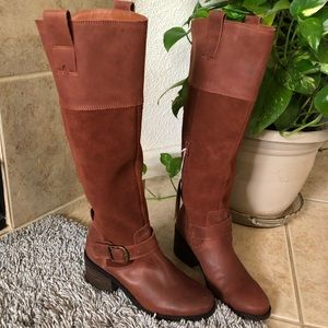 Lucky brand new with tags brown leather boots
